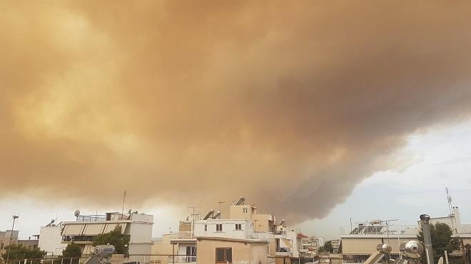 pożar w Atenach